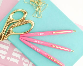 Like A Boss Pen | Office Decor Pens Gift for Her Engraved Pen Wholesale Mindfulness Gift Personalized Gift Desk Accessories Stationary