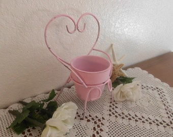 Pink Shabby Chic Flower Pot Rustic Distressed Heart Chair Romantic Cottage French Country Farmhouse Paris Apartment Home Decor Gift for Her