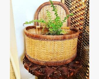 Wood wicker planter basket