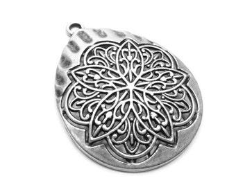 Matte Silver Plated Large Mandala Lotus Meditation Medallion Pendant- CSS001
