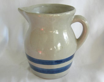 Grey and Cobalt Stoneware Pottery Creamer Pitcher