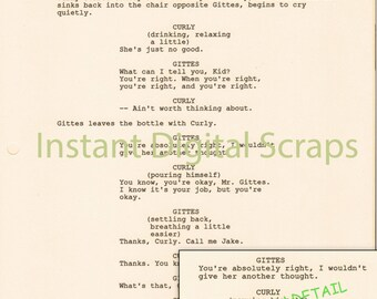 Digital Download Sepia Hollywood Movie Script CHINATOWN 4 pages (First 2, Last 2) 300 DPI Original Clip Art Collage Scrapbook
