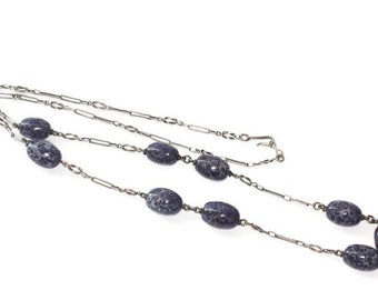 Purple Art Glass Bead Necklace Sterling Chain Oval Shaped Beads Vintage