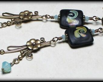 Agave Flower... Handmade Jewelry Earrings Beaded Lampwork Crystal Raku Black Aqua Sea Blue Amber Antique Brass Dangle Boho Long Lightweight
