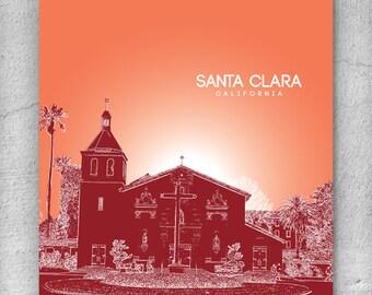 Santa Clara California Cityscape Skyline / Office Art Poster Décor - Any city available