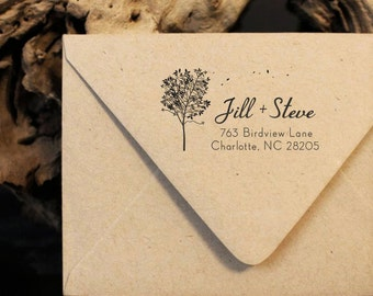 Return Address Stamp, Personalized Address Stamp, Family Address Stamp, Wood Mounted Stamp, Fall Tree Stamp, Couple Stamp, Housewarming Gift