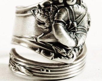 Morning Glory Ring, Sterling Silver Spoon Ring, Art Nouveau Ring Floral Ring, Chunky Flower Ring, Antique Alvin 1909, Adjustable Ring (6670)