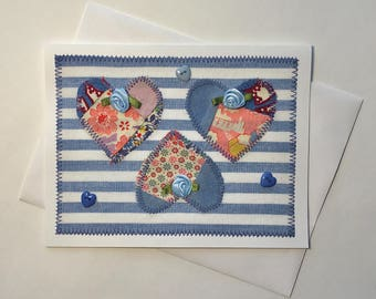 Valentine's Day card with antique patchwork quilt hearts