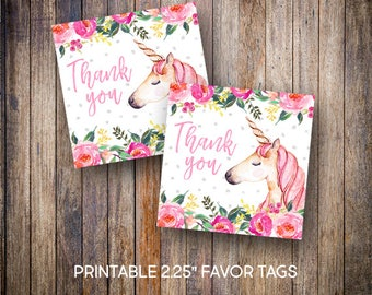 "Unicorn Favor Tags, 2.25"" Square Tags, Thank You Tag, Birthday Tags, Gift Tags, Watercolor, Digital Download, Printable Tags, 603"