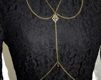 Body necklace with ornament, body jewellery, bodychain