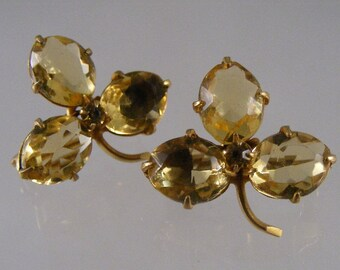 Antique Pair Victorian Scottish Shamrock Scatter Pins with Glass Cairngorm..... Lot 3957