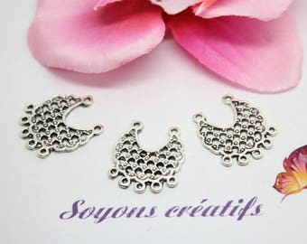 10 connectors Moon antique silver jewelry - SC0083649 creation 24x21mm