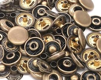 10 Pack Antique Brass 12 mm Spring Button Glove Snaps 1248-15