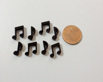 8x laser cut acrylic music notes cabochons