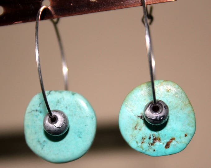Turquoise Disc Earrings with Sterling Hoops
