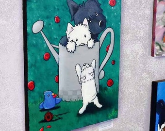 ORIGINAL Canvas Painting Westie Scottie Terrier Dogs Art