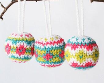 "DIY Crochet PATTERN - Fair Isle Christmas Baubles with Tassels - 3"" diameter (2015035)"