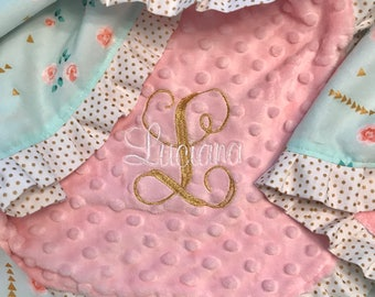 Mint Floral and Blush Minky Baby Blanket