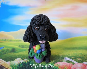 Black French Poodle dog with Easter Eggs READY to SHIP! One of a Kind hand sculpted by Sally's Bits of Clay