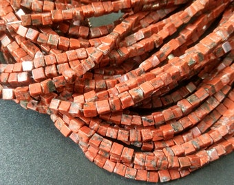 Natural Rustic Red stone 4x4x4mm- approx 90pcs/Strand
