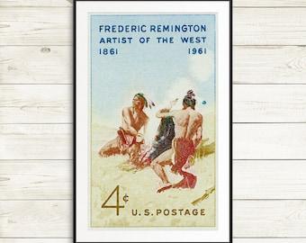 native american wall art, antique american artist print, Frederic Remington art print, antique poster prints, classic Americana home decor
