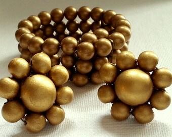 Gold Metallic Bead Wire Bracelet & Clip Earrings, Vintage Costume Jewelry, Demi Parure