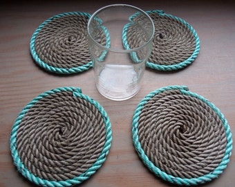 Rope Coasters Set of 4 Great For Fisherman Sailors Islanders Boaters Nautical Decor Green and Natural Choose at Checkout