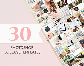 30 Photoshop Templates for Collages, Mood Boards, Social Media Posts - PSD Files - Digital Download - Perfect for Bloggers &  Photographers