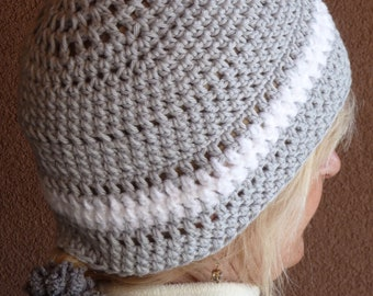 Cotton Chemo Cap for Women, Dove Gray and White Crochet Headwear, Soft Cotton Summer Hat, Cute Beanie Hat with Style, Original and  Handmade