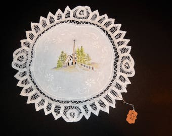 Country Church on Battenburg Lace Doily