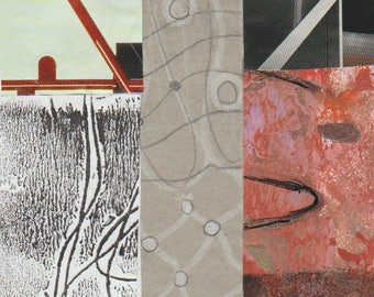 """Breaking the Mold - Original Collage with Hand Drawn and Painted Papers 4 x 4 on 5 x 5"""" Backing"""