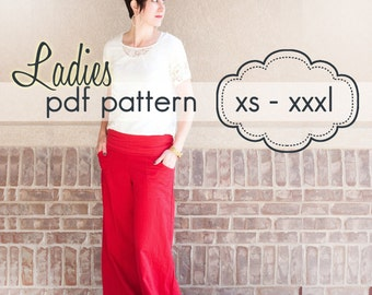 Ladies Wideleg Pants, Capris and Shorts - INSTANT DOWNLOAD - xs through xxxl, 5 length options - pdf sewing pattern