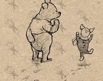 Winnie the Pooh and Piglet Instant Download Digital printable vintage clipart  graphic for scrapbooking,  home decor,  prints etc HQ 300dpi