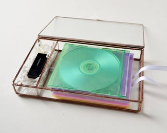 "6"" x 9"" Clear Glass Box, Dual CD & USB Flash Drive Box, Photo Display Case, Gift For Her, Wedding Photo Display Box"