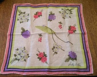 Vintage Large Sally Victor Hanky Spring Bonnet & Bouquet Handkerchief