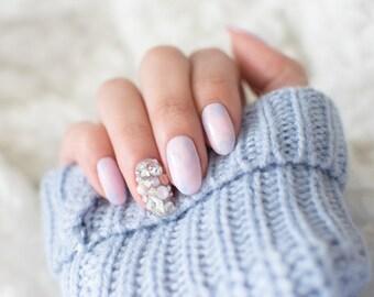 Pastel Pantone 2016 Rose Quartz Serenity Nails, kawaii, lolita nails, press on nails, acrylic nail, crystal cluster nail