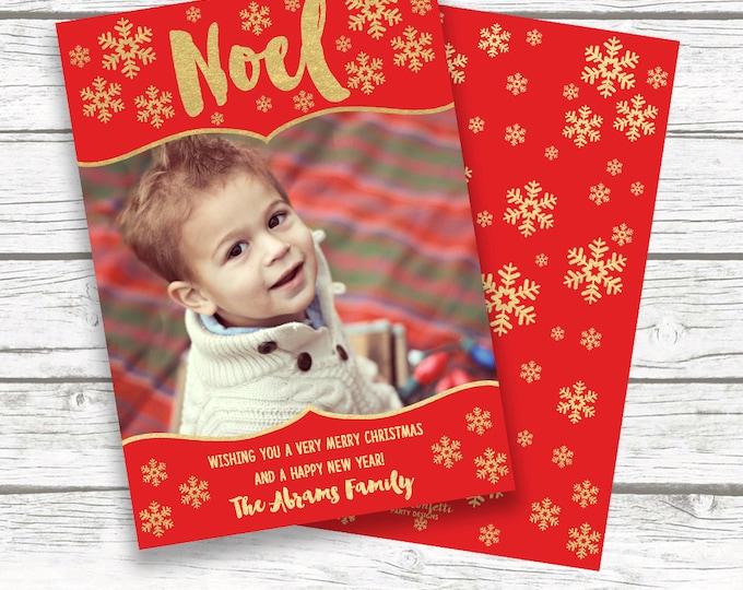 Christmas Photo Card, Noel Christmas Card, Red and Gold Christmas Photo Card, Holiday Photo Card, Snowflake Christmas Card