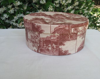 Mauve and tan patterned band box, button box
