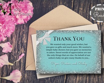 Teal and White bow Baby Shower Thank you cards, baby shower Invitation, baby shower, Printable, Customized, Baby & Co