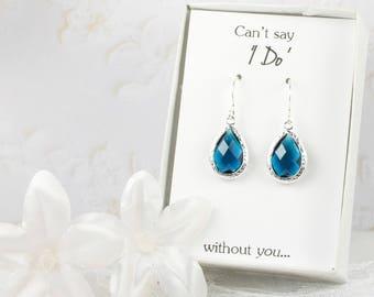 Navy Blue Silver Teardrop Earrings, Silver Navy Earrings, Blue Silver Earrings, Bridesmaid Gift, Bridesmaid Earrings, Blue Wedding Jewelry