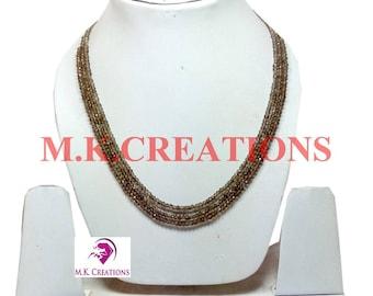 30% Off, Natural Smoky Quartz Beads 3 Strand Necklace, Multistrand Necklace, Beaded Layered Necklace, Statement Necklace, Christmas Gift