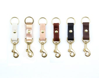 LEATHER Key Fob. Leather Key Chain with Hook. Leather Keychain. Leather Key Holder