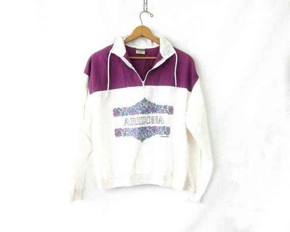 Arizona Athletic Pullover High Collar Athletic Sporty Purple Cotton Tee Sweatshirt Drawstring Collar Womens Large