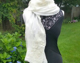 Nuno Felted Bridal Shawl in Cashmere Soft Merino and Habotai Silk.  Boho Brides Wrap In Luxurious Fibers with Unique Texture.  Art To Wear.