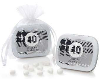 40th Milestone Birthday - Aged to Perfection - Mint Tin Party Favors - Birthday Party Supplies - 12 Count