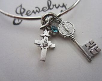 Miraculous Medal Key - Holy Spirit Cross - Lt Blue Glass Charm Bracelet, Catholic Religious Gift