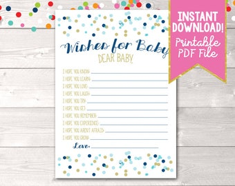 Instant Download Printable Baby Wishes Card with Blue & Gold Polka Dot Confetti