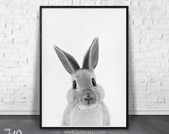 Baby Animal Nursery Art, Nursery Wall Art, Rabbit Print, Bunny Print, Black and White, Woodland Decor, Digital Download, Kids Room Poster