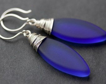 Cobalt Seaglass Earrings. Cobalt Blue Seaglass Dangle Earrings. Marquis Style Frosted Earrings. Wire Wrapped Earrings. Handmade Jewelry.