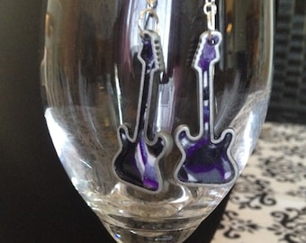 Purple earrings, guitar shaped, silver dangling earrings, handmade, polymer clay, gift for musician, stocking stuffers
